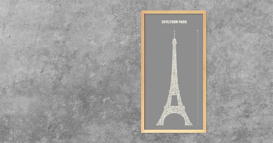 Buchstabengrafik Eiffelturm Paris