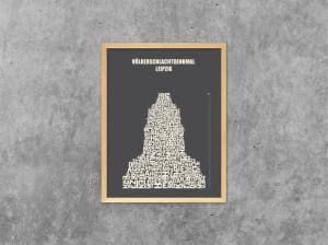 Buchstabengrafik Völkerschlachtdenkmal Leipzig