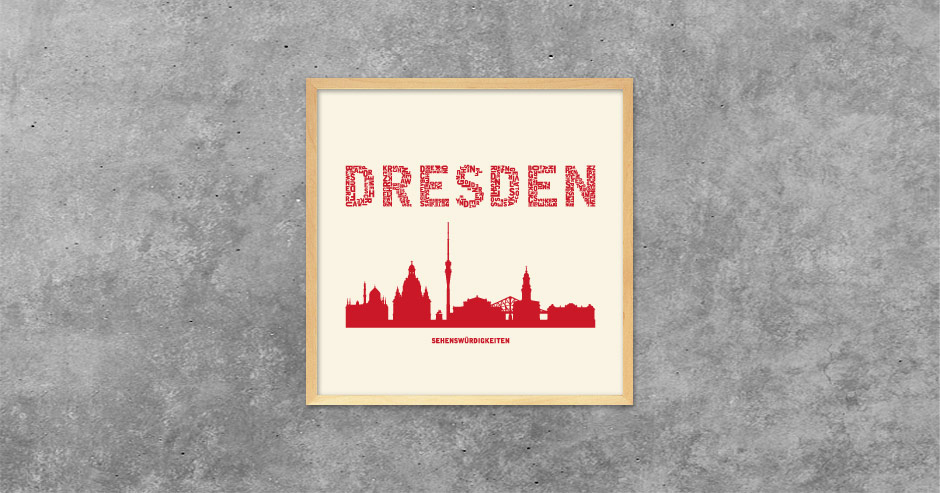 Buchstabengrafik Dresden - Sehenswürdigkeiten