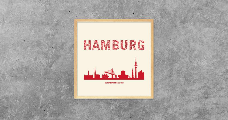 Buchstabengrafik Hamburg - Sehenswürdigkeiten