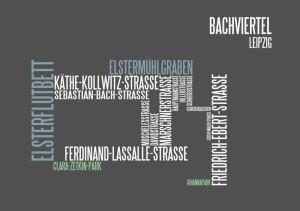typographische Darstellung Bachviertel  Leipzig