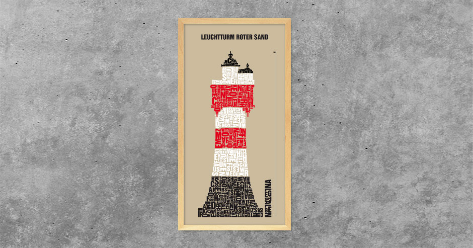 Architekturtypografik Leuchtturm Roter Sand