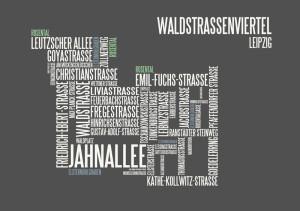 typographische Darstellung Waldstraßenviertel Leipzig