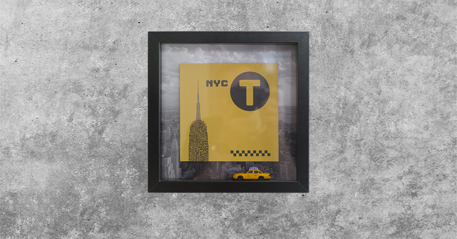 Objekt-Architekturtypografik New York City Taxi