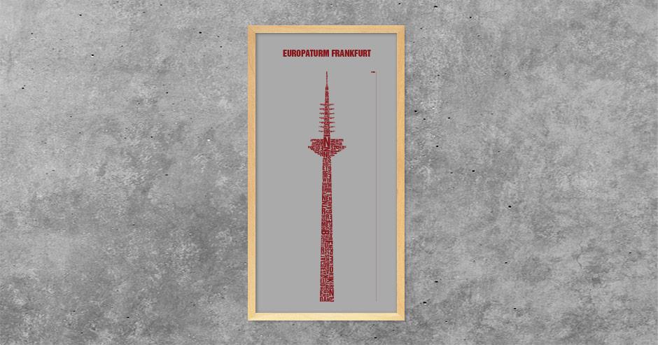 Buchstabengrafik Europaturm Frankfurt
