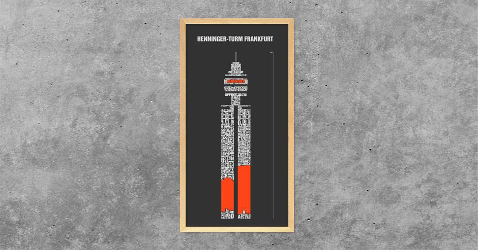 Buchstabengrafik Henninger-Turm Frankfurt
